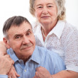 Closeup portrait of smiling elderly couple — Stock Photo #22266383