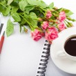 Flowers, coffee and notebook. — Stock Photo #24458795