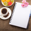 Blank Paper for your own text, Coffee, flowers - Stock Photo