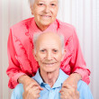 Positive elderly couple happy - Zdjęcie stockowe