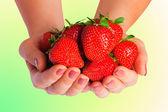 Lindo morango em mãos femininas — Foto Stock