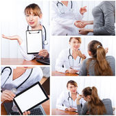 Photo set Doctor with female patient — Stock Photo