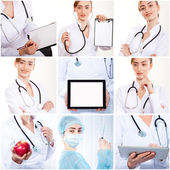 Set of photos doctor smiling — Foto Stock