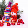 Cheerful family of snowmen — Stock Photo