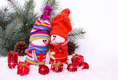 Cheerful family of snowmen — Foto Stock