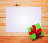 Vintage gift box with blank tag — Stock Photo
