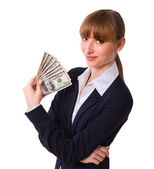 Business woman holding cash dollars — Stock Photo