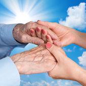 Senior Man, Woman with their Caregiver. — Stock Photo