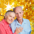 Stock Photo: Old people holding hands. Closeup.