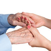 Care is at home of elderly — Stock Photo