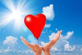 Love balloons on blue sky. — Stock Photo