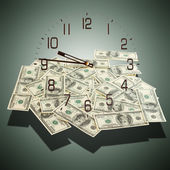 Cash dollars. Concept of time is money. — Stock Photo
