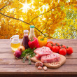 Sliced pieces of raw Meat for barbecue — Stock Photo