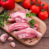 Sliced ​​pieces of raw Meat for barbecue — Stock Photo