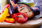 Food. Meat barbecue with vegetables — Stock Photo