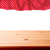 Empty wooden deck table with tablecloth for product montage. — Stock Photo