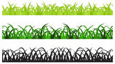 Set of Three Grass Border Pieces, Seamless — Stock Vector