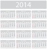Calendario 2014 minimalista — Vector de stock