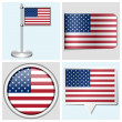 USA flag - set of sticker, button, label and flagstaff — Stock Vector