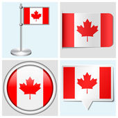 Canada flag - set of sticker, button, label and flagstaff — Stock Vector