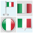 Italy flag - set of sticker, button, label and flagstaff — Stock Vector