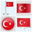 Turkey flag - set of sticker, button, label and flagstaff — Stock Vector