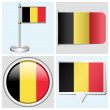 Belgium flag - set of sticker, button, label and flagstaff — Stock Vector #30260887
