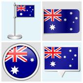 Avustralya bayrağı - etiket, düğme, etiket ve flagstaff ayarla — Stok Vektör