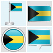 Bahamas flag - set of various sticker, button, label and flagstaff — Stock Vector