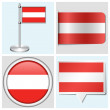 Austria flag - set of various sticker, button, label and flagstaff — Stock Vector