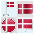 Denmark flag - set of various sticker, button, label and flagstaff — Stock Vector
