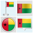 Guinea-Bissau flag - set of various sticker, button, label and flagstaff — Stock Vector