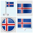 Iceland flag - set of various sticker, button, label and flagstaff — Stock Vector