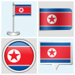 North Korea flag - set of various sticker, button, label and flagstaff — Stock Vector #32063511