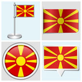 Macedonia flag - set of various sticker, button, label and flagstaff — Stock Vector
