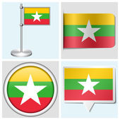 Myanmar flag - set of various sticker, button, label and flagstaff — Stock Vector