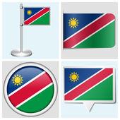 Namibias flagga - uppsättning olika klistermärke, knappen, etikett och flagstaff — Stockvektor