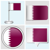 Qatar flag - set of various sticker, button, label and flagstaff — Stock Vector