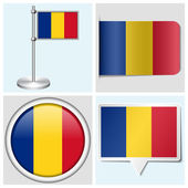 Romania flag - set of various sticker, button, label and flagstaff — Stock Vector