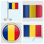 ルーマニアの旗 - 各種ステッカー、ボタン、ラベル、フラッグ スタッフの設定 — ストックベクタ