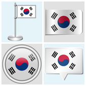 South Korea flag - set of various sticker, button, label and flagstaff — Stock Vector