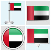 United Arab Emirates flag - set of various sticker, button, label and flagstaff — Stock Vector