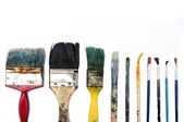 Brushes used background — Stock Photo