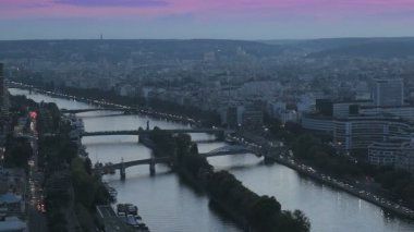 Paris. Panoramic view of the city and Seine river — Stock Video