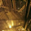 The descent from the Eiffel tower on the elevator at night — Stock Video