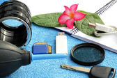 Accessories for traveler and photographer — Stock Photo