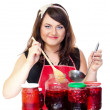 Cherry woman — Stock Photo