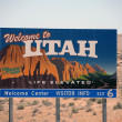 Welcoming sign to Utah - Stock Photo