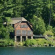 Lakefront log home — Stock Photo
