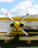 Yellow airplane front view — Stock Photo